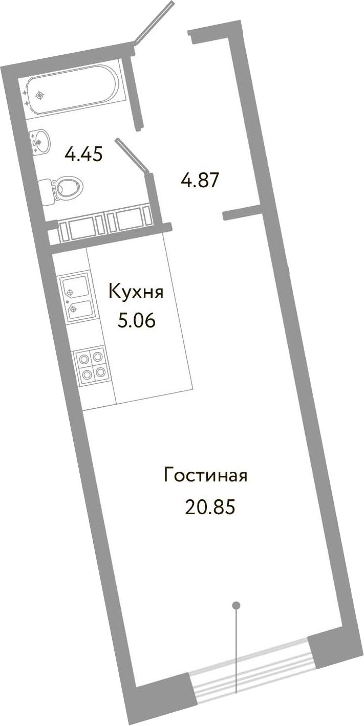Студия, 35.23 м²