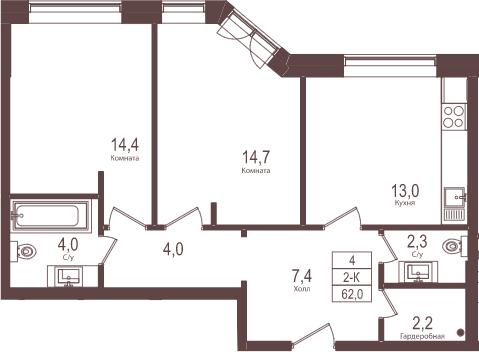 2-к.кв, 62 м²