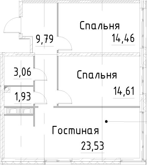 3Е-к.кв, 67.37 м², от 14 этажа