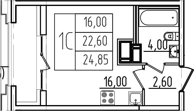Студия, 24.85 м², 12 этаж – Планировка