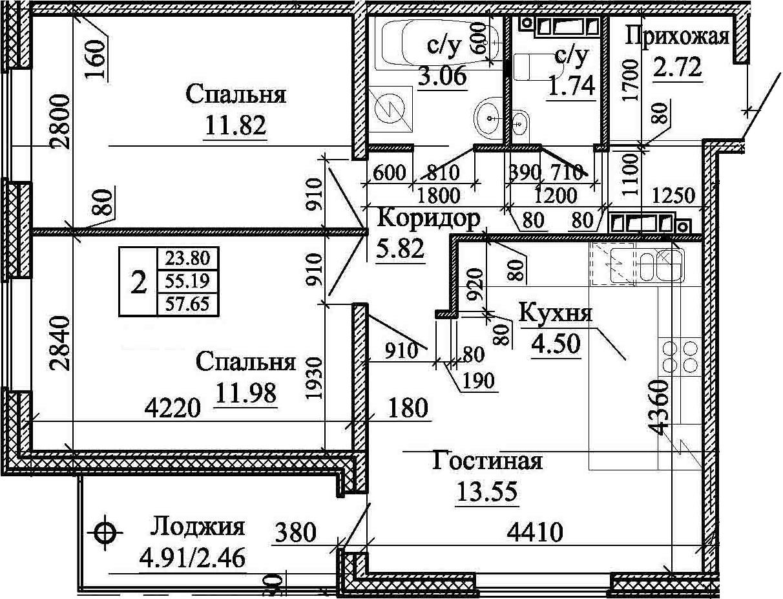 3Е-к.кв, 57.65 м²