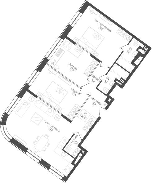 4Е-к.кв, 106.6 м²