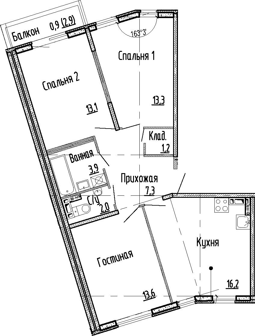 4Е-к.кв, 70.6 м², 2 этаж