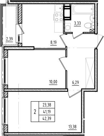 2-к.кв, 43.58 м²