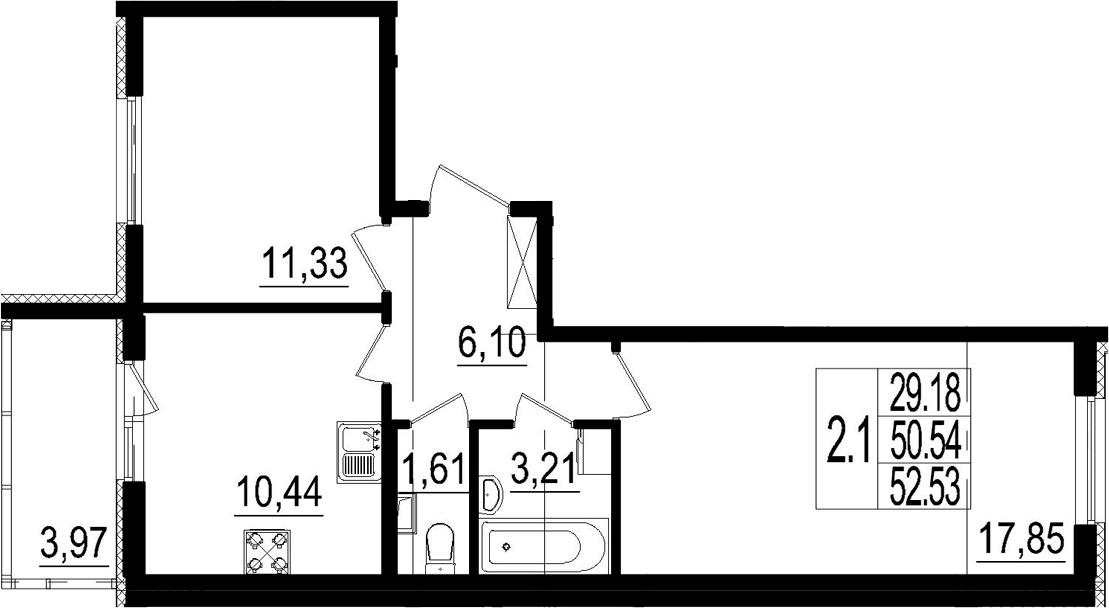 2-к.кв, 50.54 м²
