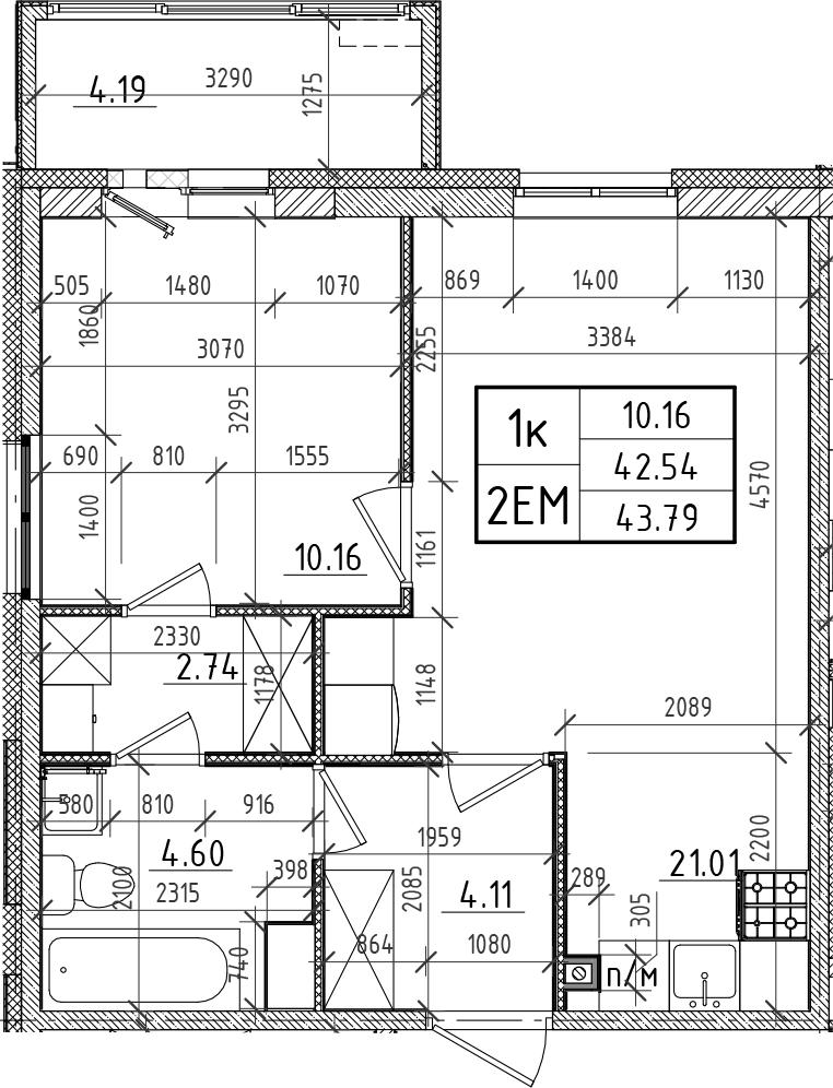 2Е-комнатная, 42.54 м²– 2