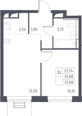 2Е-комнатная, 33.88 м²– 2