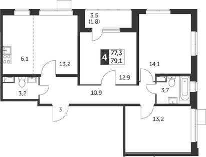 3-комнатная, 79.1 м²– 2