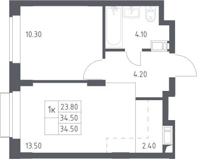 2Е-к.кв, 34.5 м², 8 этаж