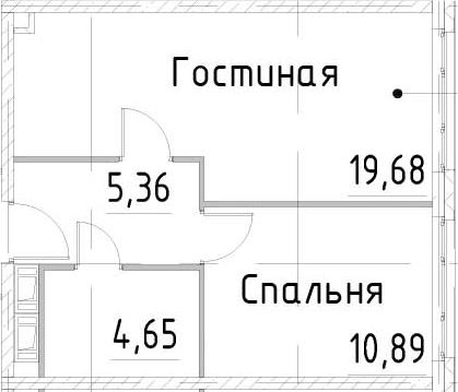 2Е-комнатная, 40.58 м²– 2