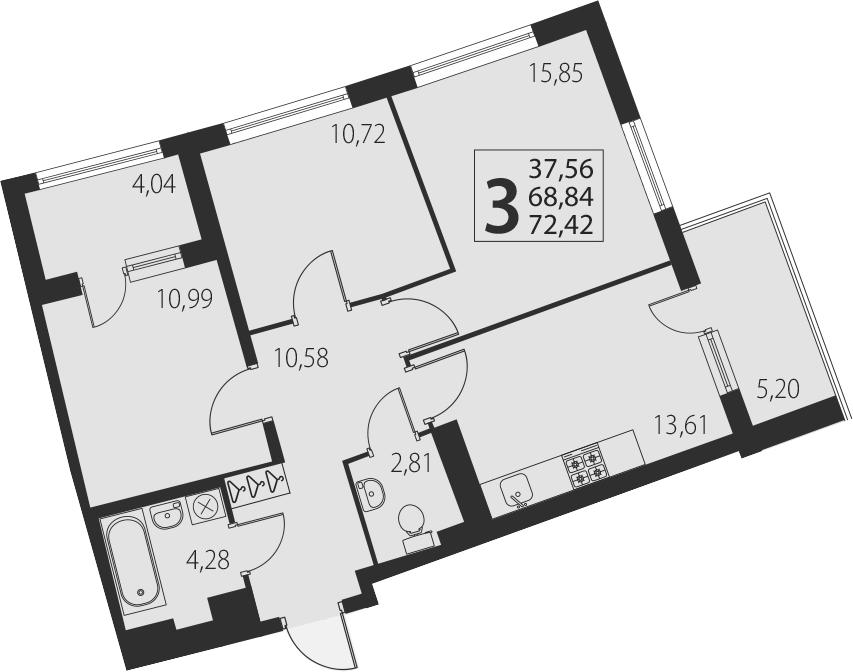 3-к.кв, 78.08 м²