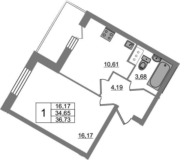 1-комнатная, 36.73 м²– 2