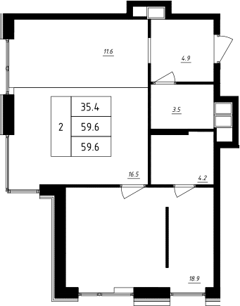2Е-комнатная, 59.6 м²– 2