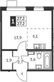 Студия, 27.2 м²– 2