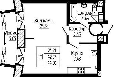 1-к.кв, 47.12 м²
