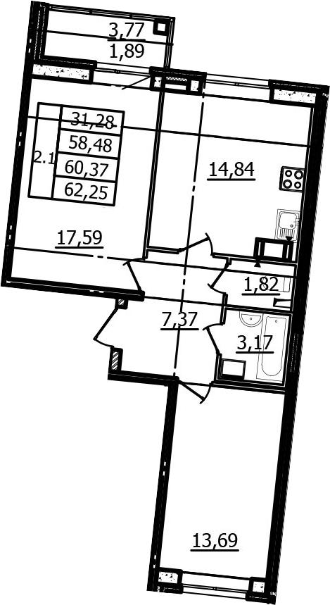 2-к.кв, 58.48 м², от 4 этажа