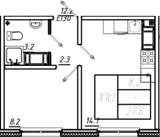 1-к.кв, 27.8 м², 19 этаж
