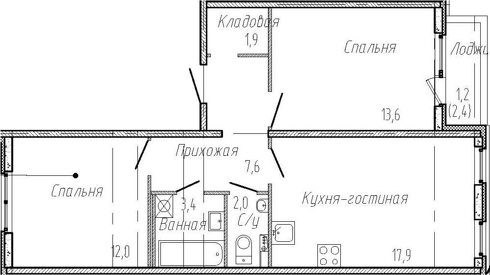 2-к.кв, 60.8 м²