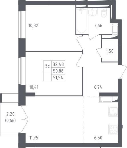 3Е-комнатная, 51.54 м²– 2