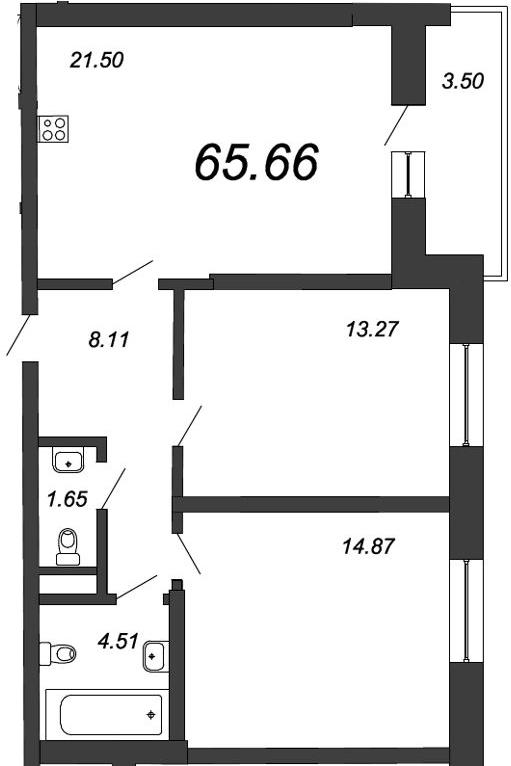 3-к.кв (евро), 68.11 м²