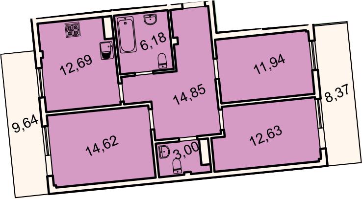 3-комнатная, 81.3 м²– 2