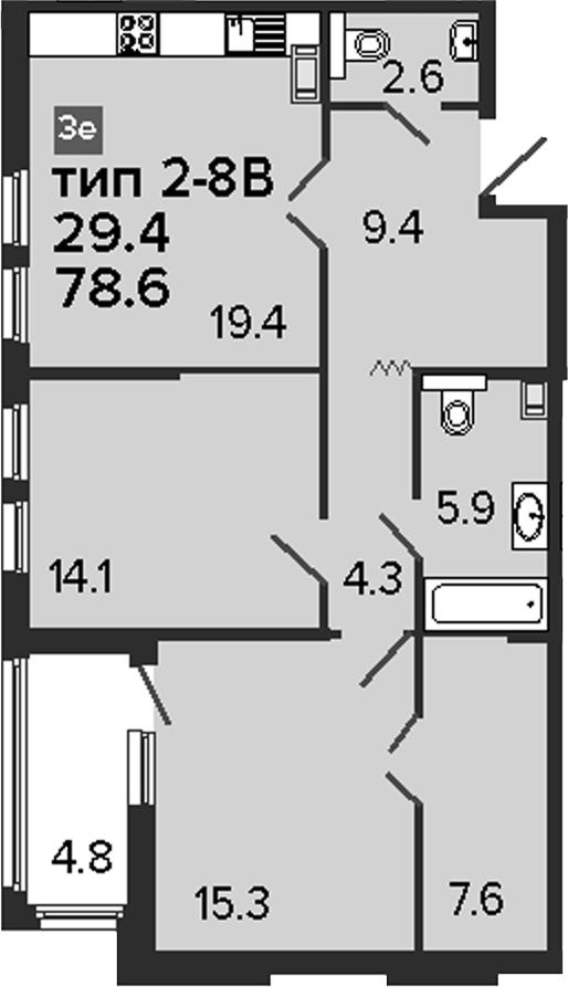 3Е-к.кв, 78.6 м², от 4 этажа