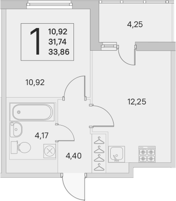 2Е-к.кв, 31.74 м²