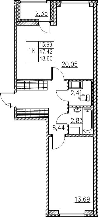 2Е-комнатная, 48.6 м²– 2
