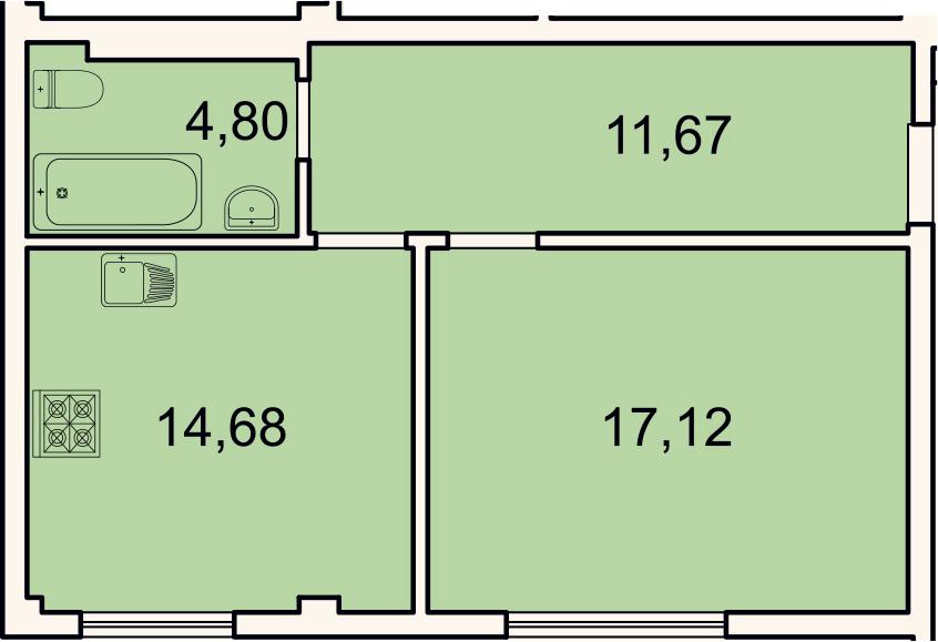 1-к.кв, 48.2 м², 1 этаж