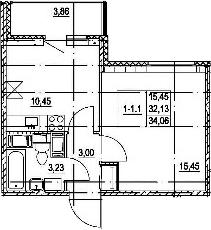 1-к.кв, 35.99 м²