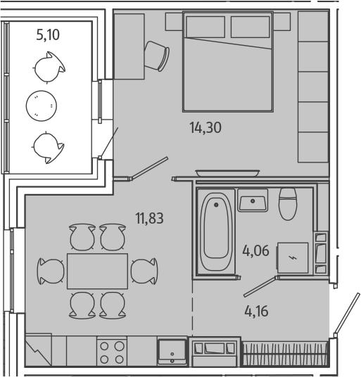 1-комнатная, 36.9 м²– 2