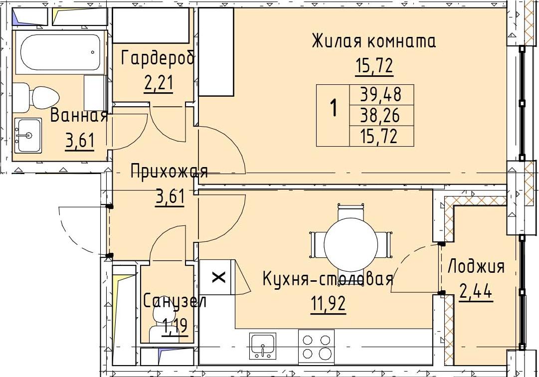1-к.кв, 39.48 м²