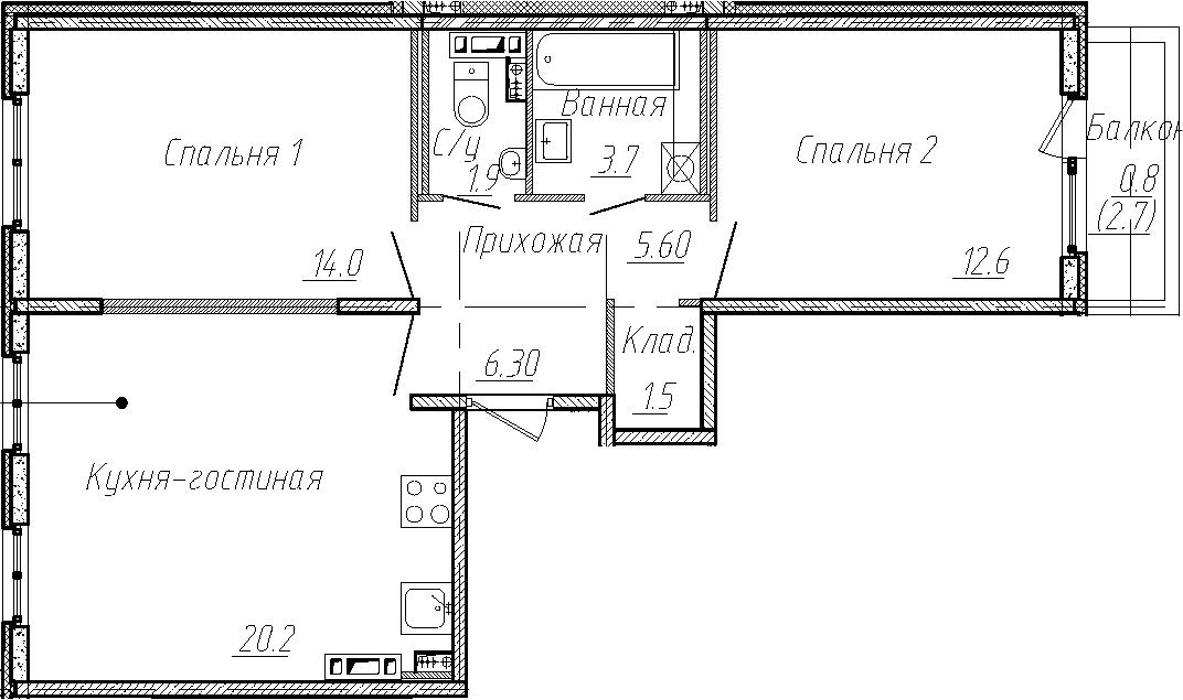3Е-комнатная, 60.2 м²– 2