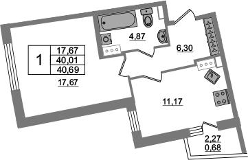 1-к.кв, 40.01 м², 13 этаж