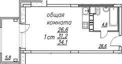 Студия, 37 м²