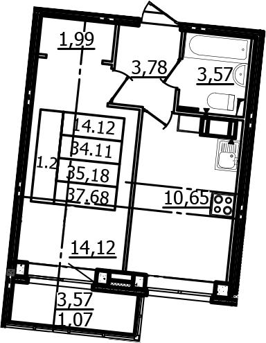 1-к.кв, 34.11 м²