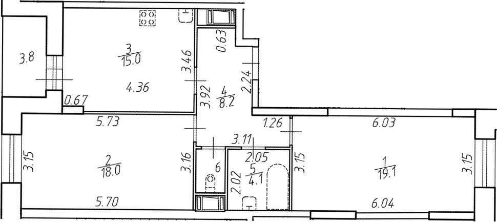 3Е-к.кв, 65.9 м²