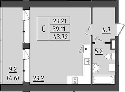 Студия, 48.31 м²– 2