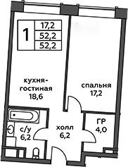 2Е-к.кв, 52.2 м², 6 этаж