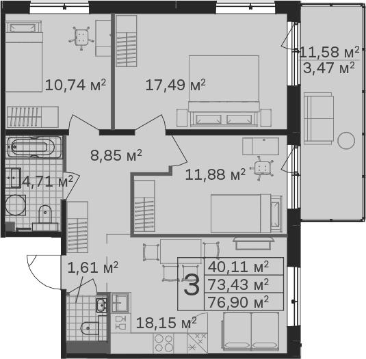 4Е-комнатная, 76.9 м²– 2