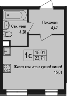 Студия, 23.71 м²