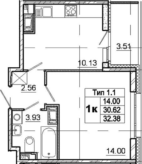 1-к.кв, 34.13 м²