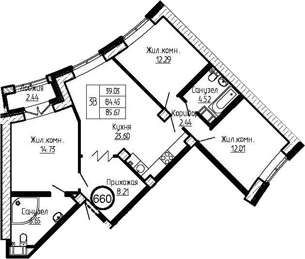 4-к.кв (евро), 86.89 м²
