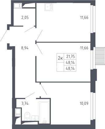 2-к.кв, 48.14 м²