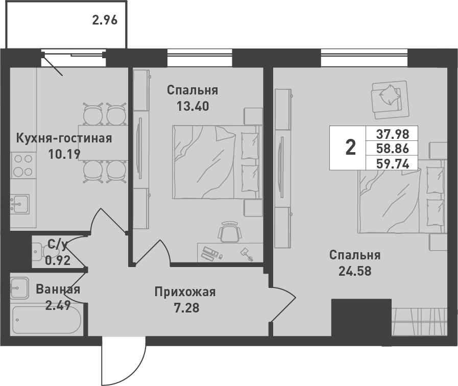 2-к.кв, 59.74 м², от 2 этажа