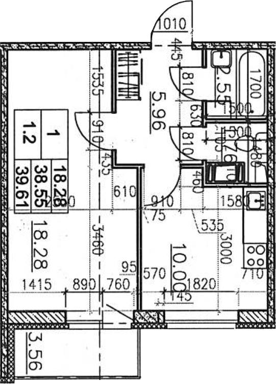 1-к.кв, 40.67 м²