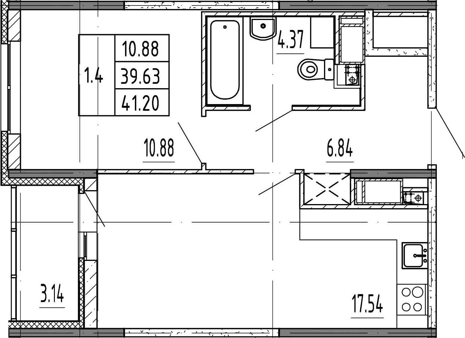2Е-к.кв, 39.63 м², 22 этаж