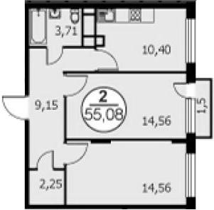 2-к.кв, 56.13 м²