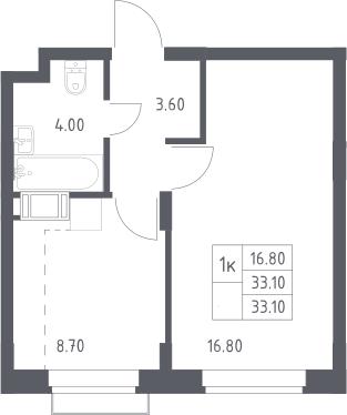 1-к.кв, 33.1 м², 6 этаж