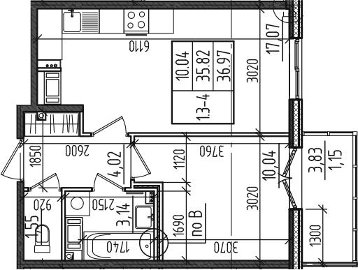 2Е-к.кв, 36.97 м²